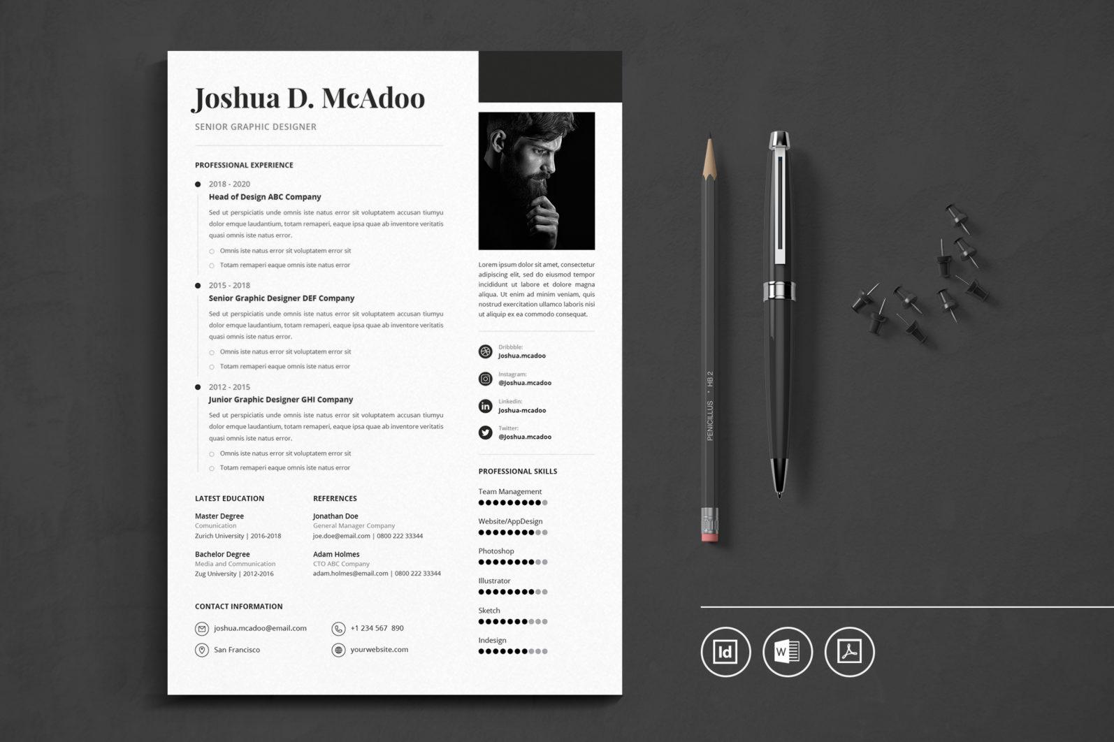 Big Bundle Professional CV Resume Indesign Template - Preview 26 1 -