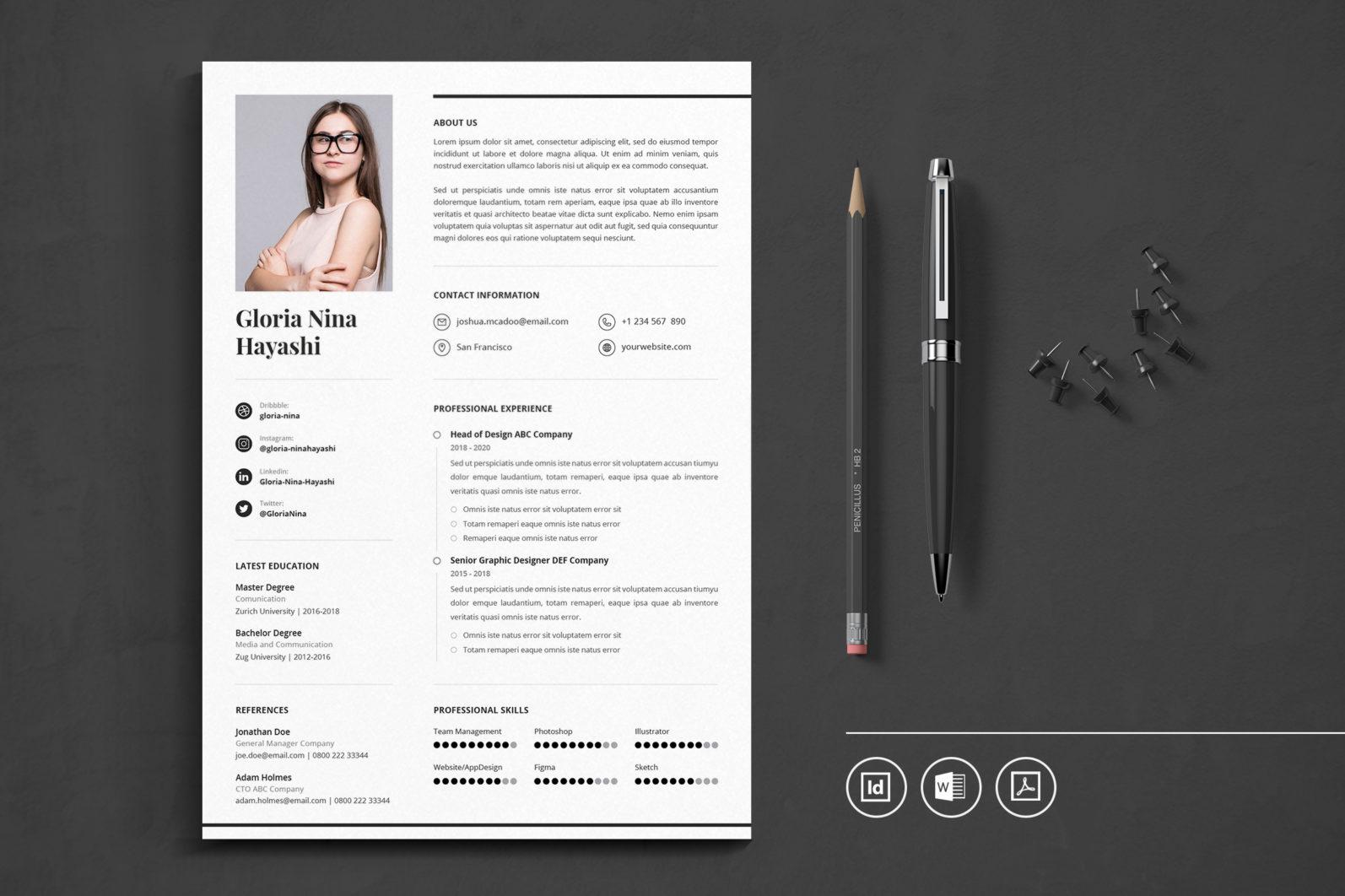 Big Bundle Professional CV Resume Indesign Template - Preview 28 1 -