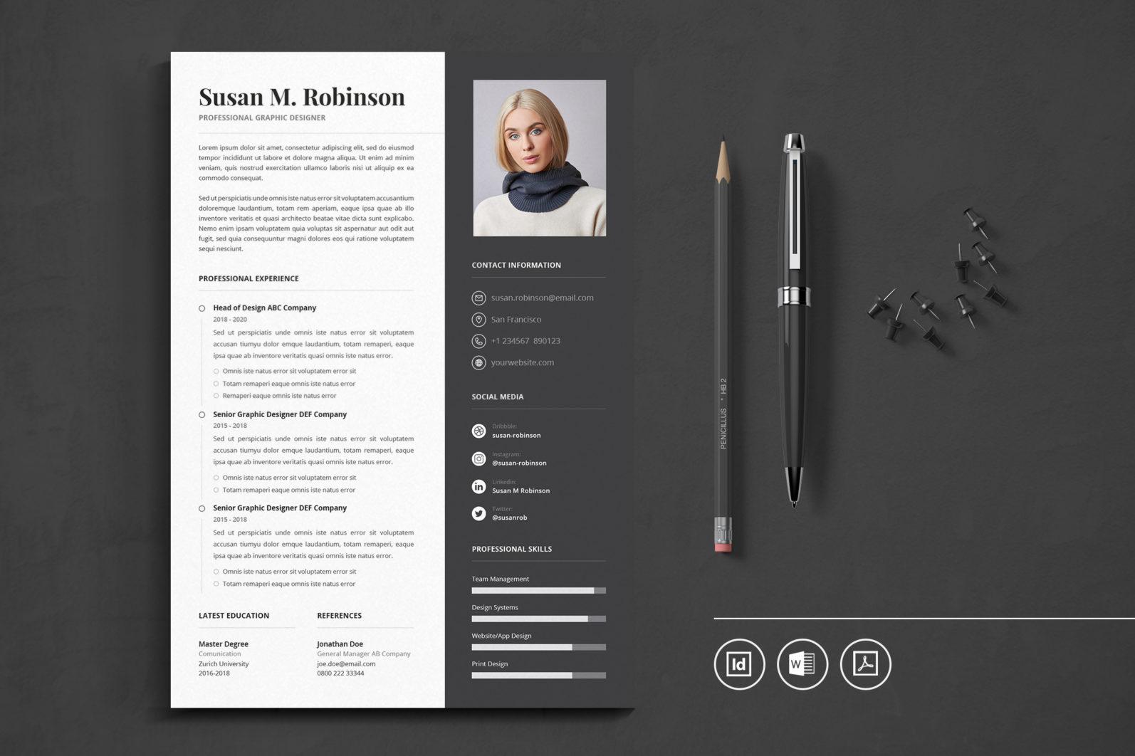 Big Bundle Professional CV Resume Indesign Template - Preview 30 1 -