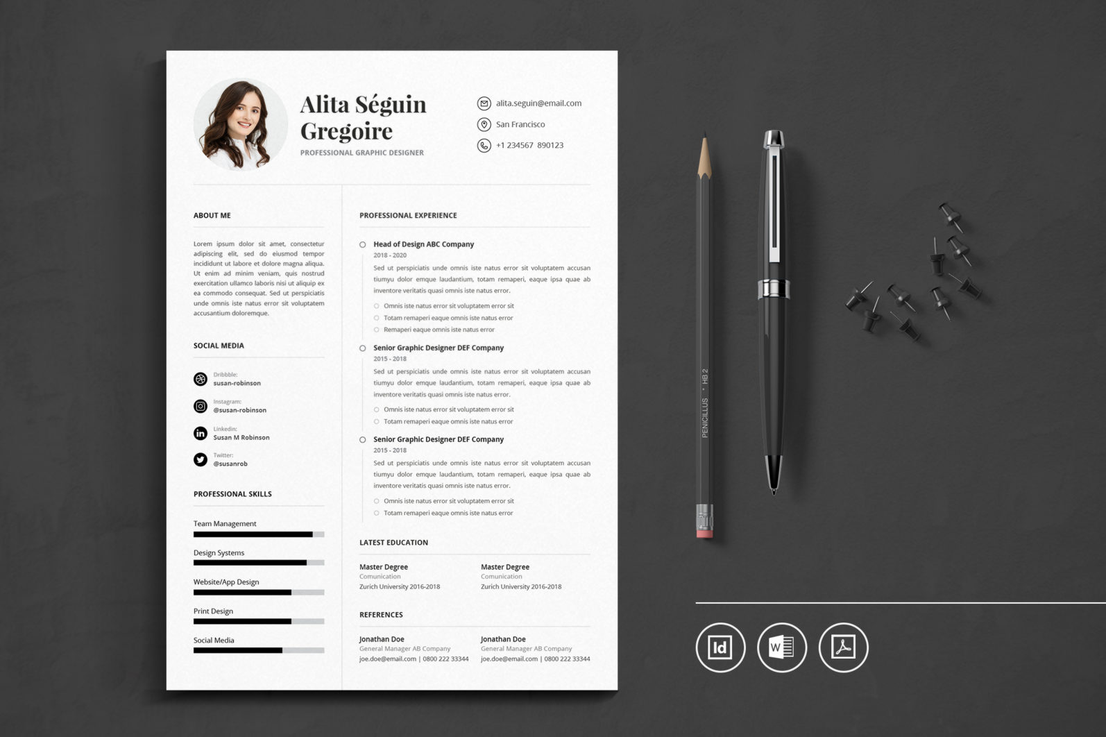 Big Bundle Professional CV Resume Indesign Template - Preview 31 1 -