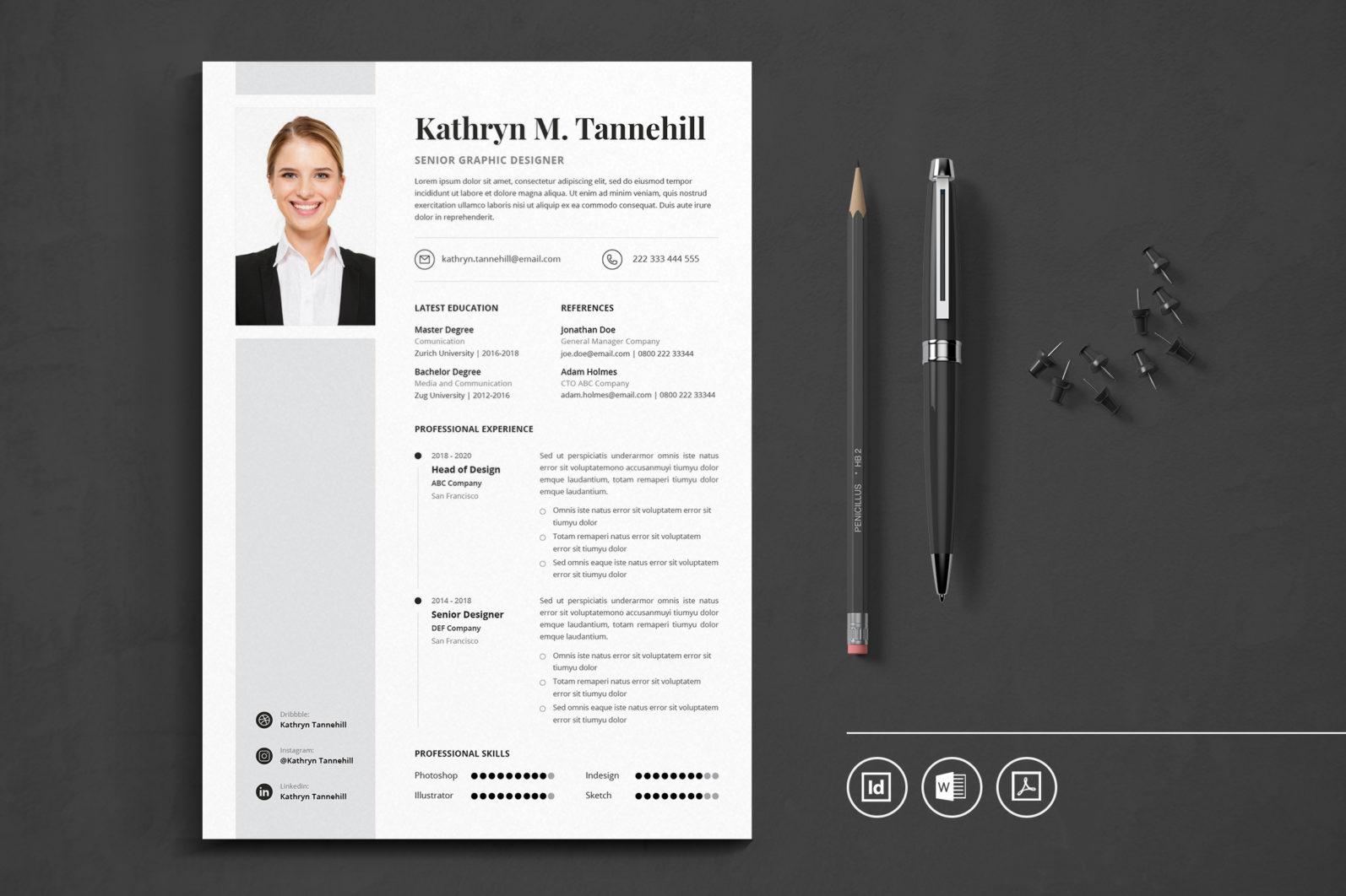 Big Bundle Professional CV Resume Indesign Template - Preview 32 1 -