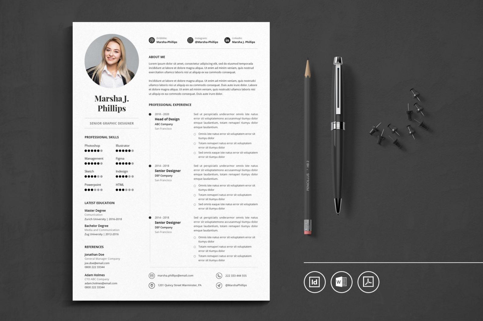 Big Bundle Professional CV Resume Indesign Template - Preview 34 -