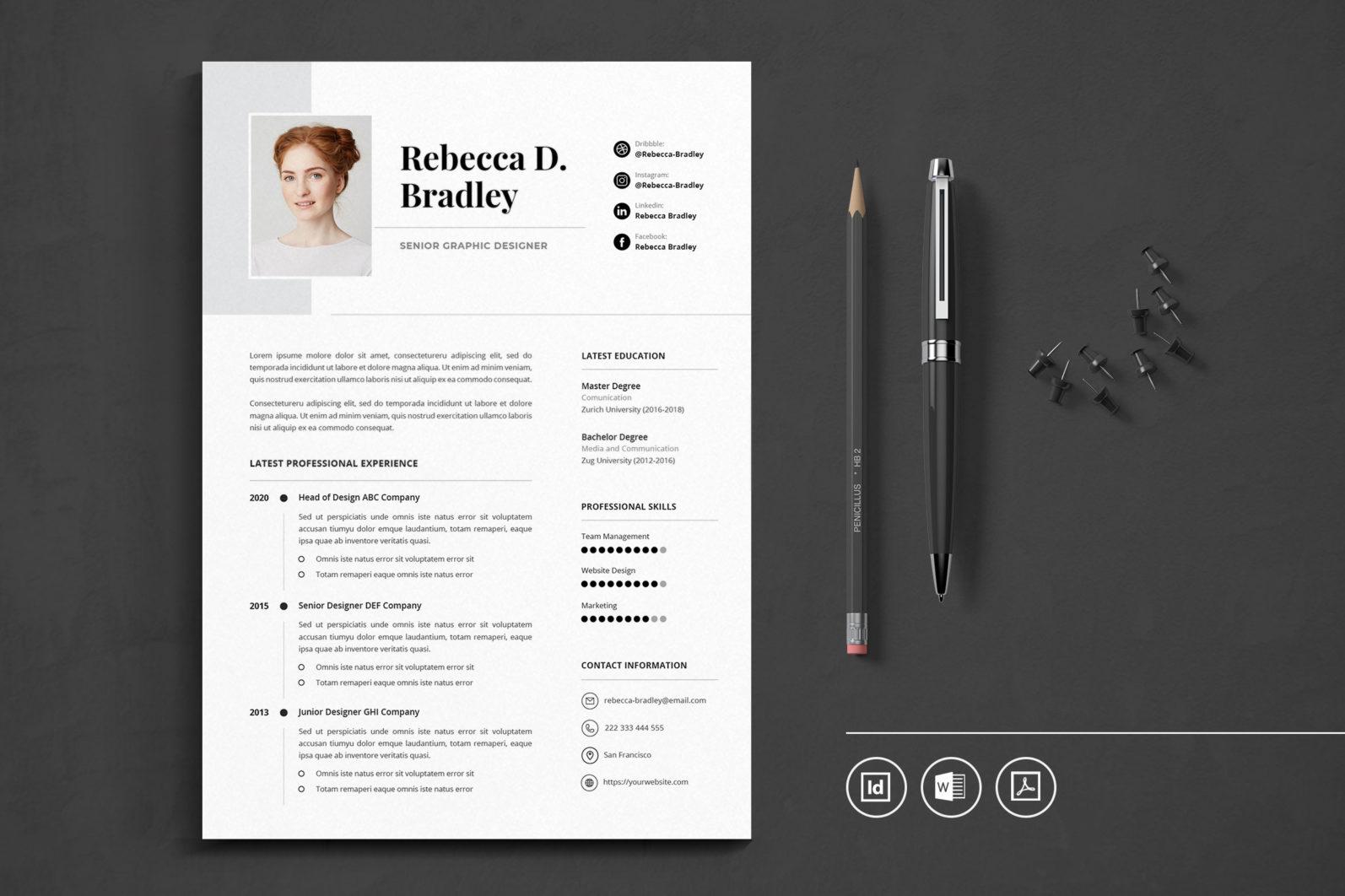 Big Bundle Professional CV Resume Indesign Template - Preview 42 -