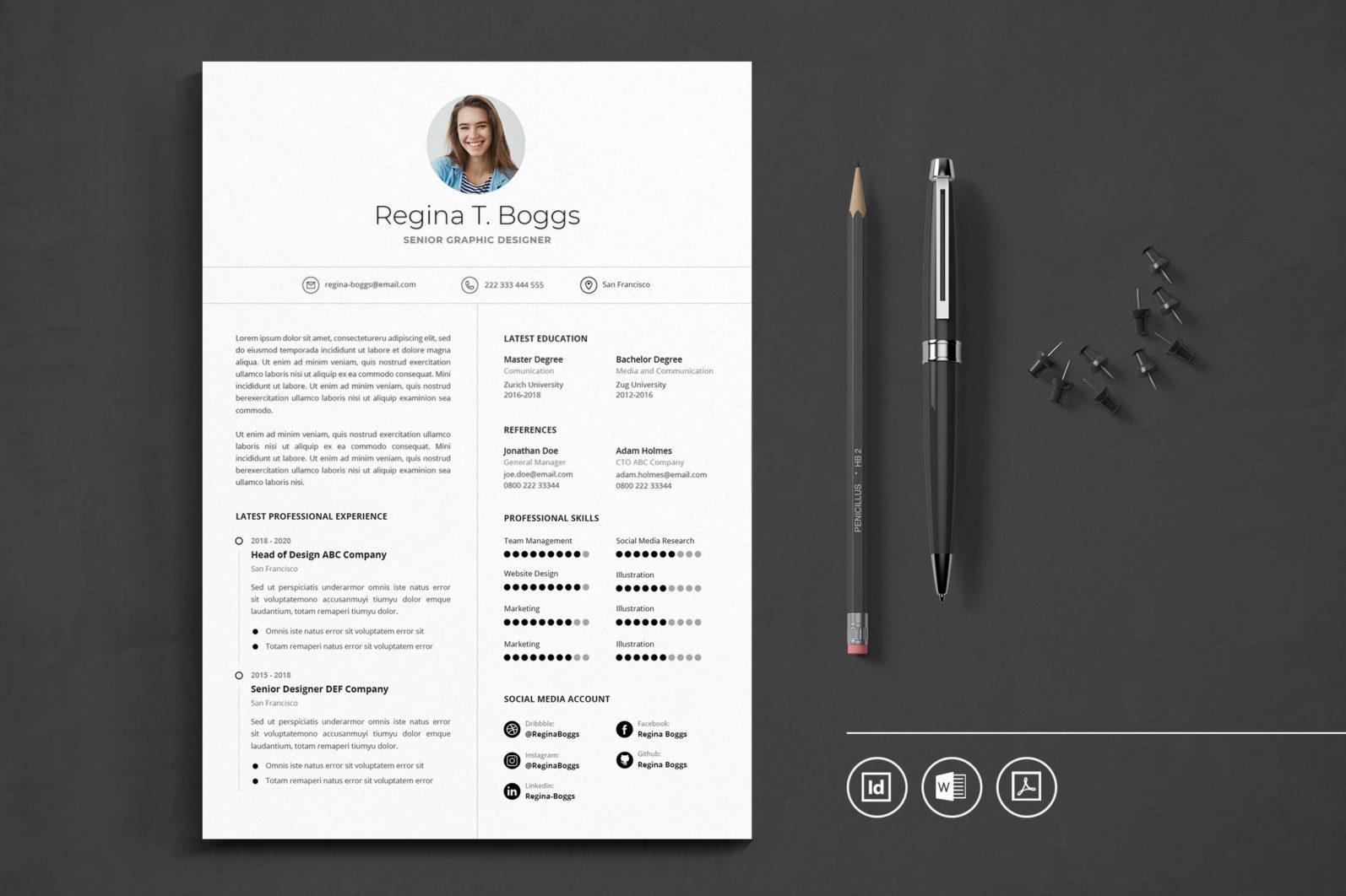 Big Bundle Professional CV Resume Indesign Template - Preview 43 -