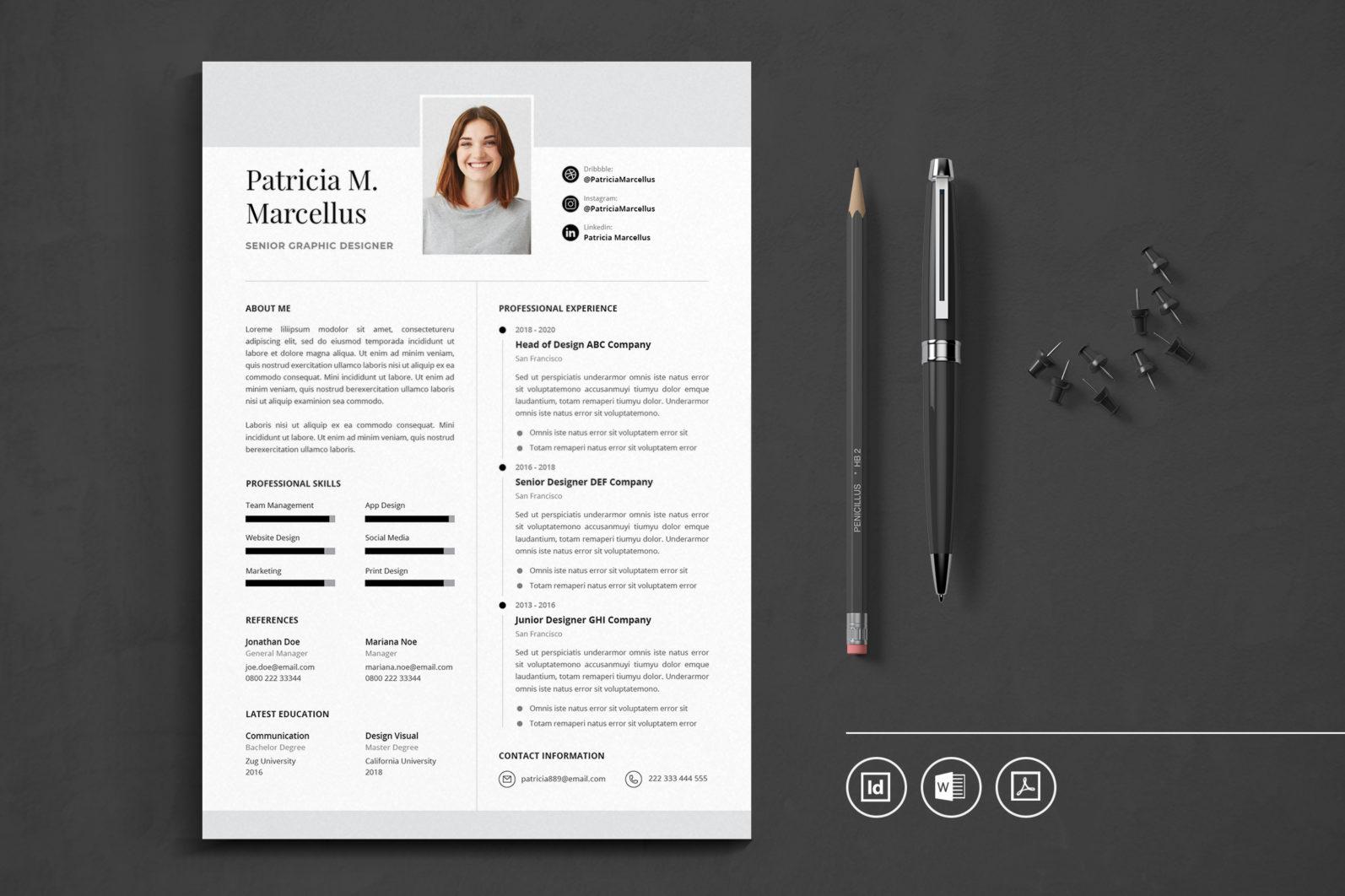 Big Bundle Professional CV Resume Indesign Template - Preview 48 -