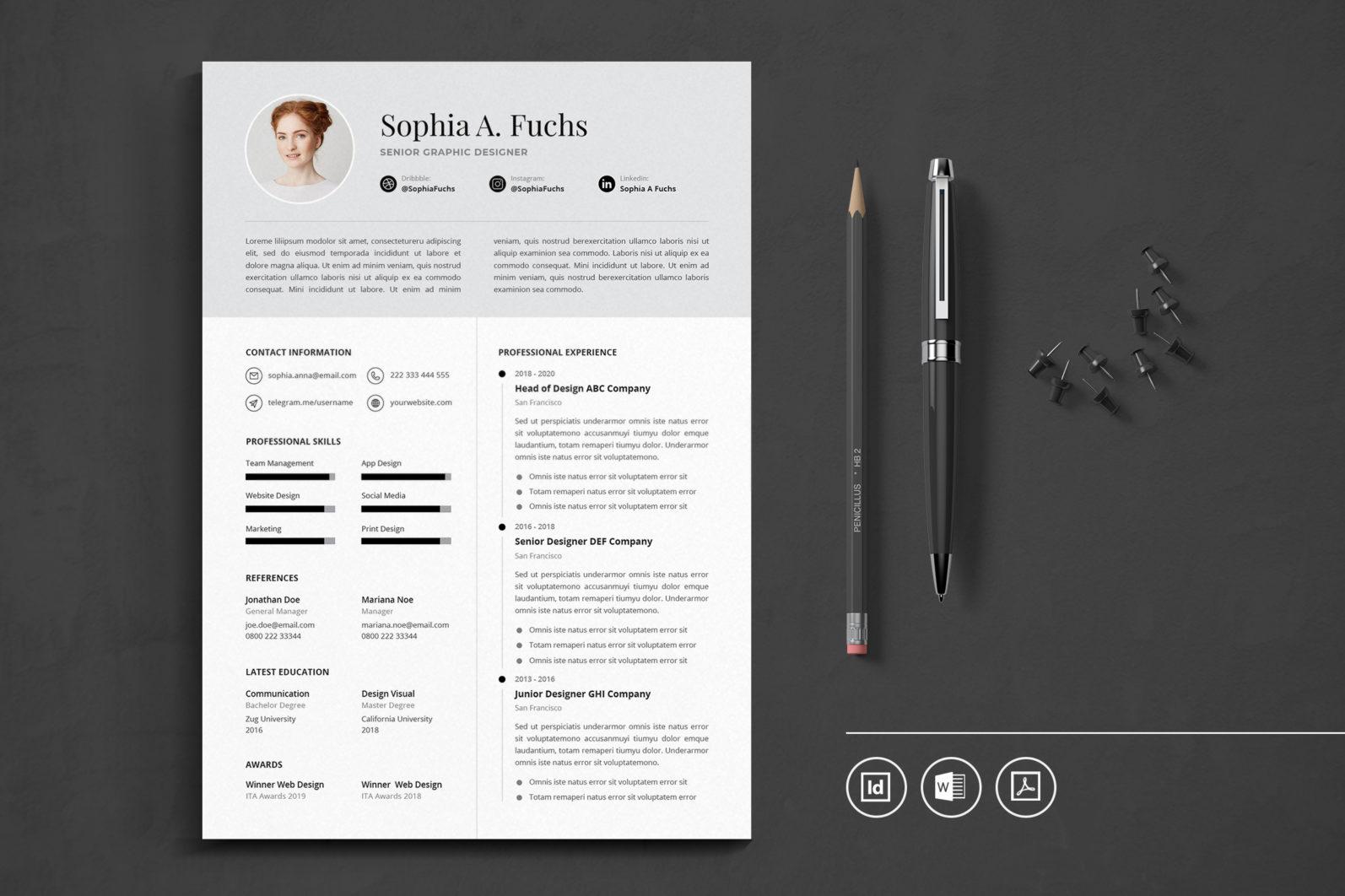 Big Bundle Professional CV Resume Indesign Template - Preview 49 -