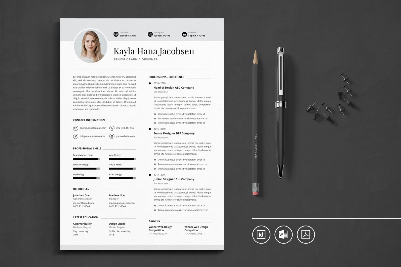 Big Bundle Professional CV Resume Indesign Template - Preview 50 -