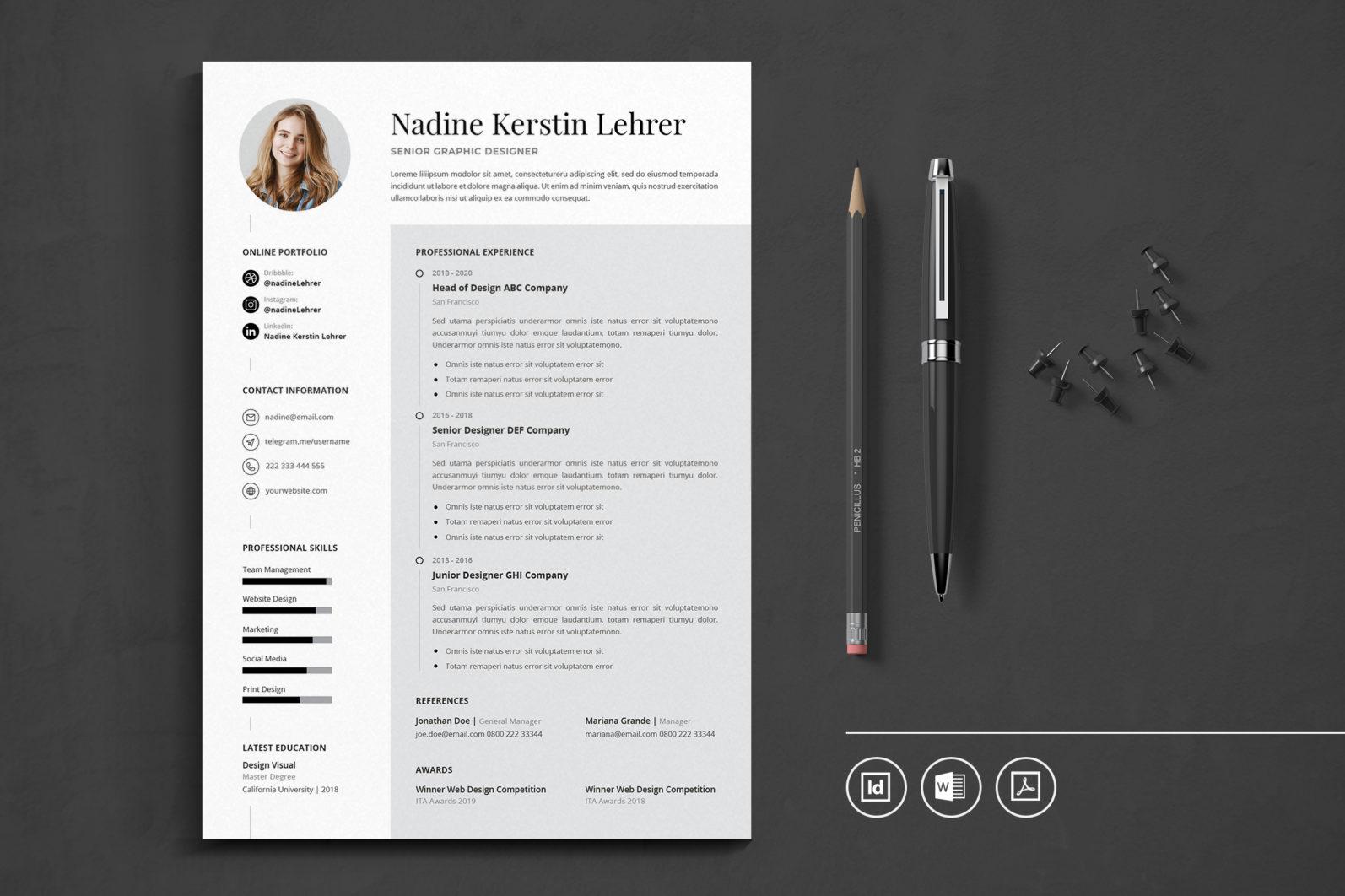 Big Bundle Professional CV Resume Indesign Template - Preview 51 -