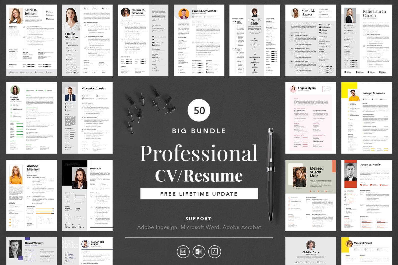 Big Bundle Professional CV Resume Indesign Template - COVER IMAGE 1 -