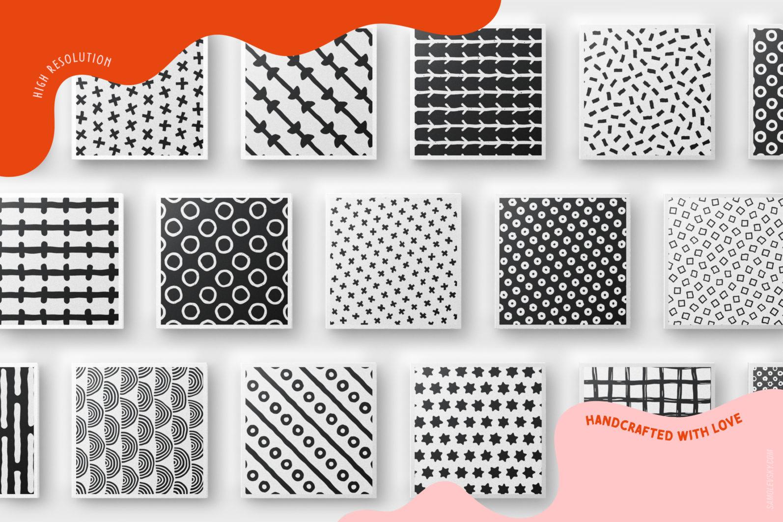 Handmade patterns bundle - 300 seamless patterns, brushes, and shapes - Samolevsky.com Handmade patterns bundle 08 scaled -