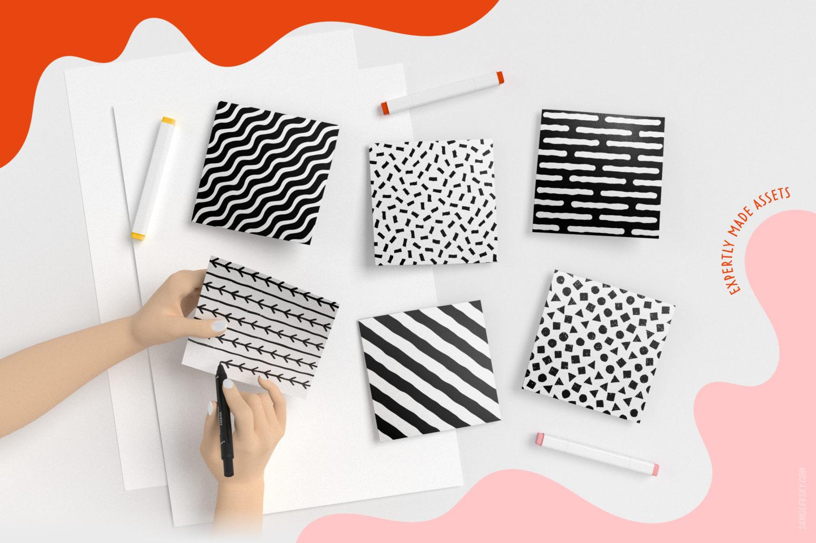 Handmade patterns bundle - 300 seamless patterns, brushes, and shapes - Samolevsky.com Handmade patterns bundle 10 scaled -