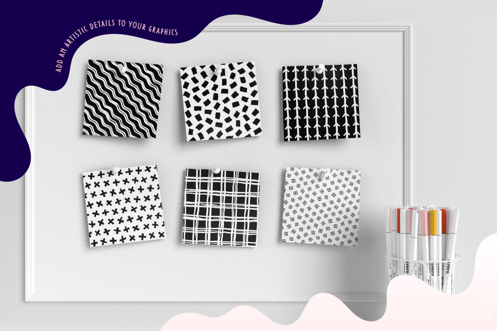 Handmade patterns bundle - 300 seamless patterns, brushes, and shapes - Samolevsky.com Handmade patterns bundle 12 scaled -