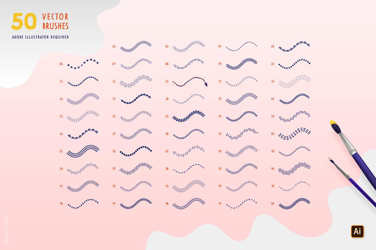Handmade patterns bundle - 300 seamless patterns, brushes, and shapes - Samolevsky.com Handmade patterns bundle 13 scaled -