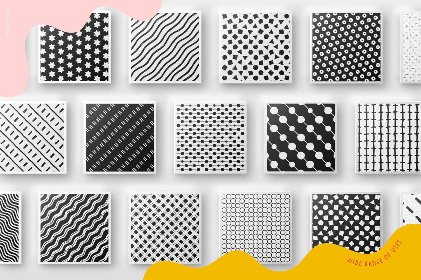 Handmade patterns bundle - 300 seamless patterns, brushes, and shapes - Samolevsky.com Handmade patterns bundle 14 scaled -
