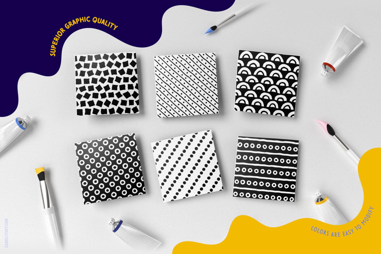 Handmade patterns bundle - 300 seamless patterns, brushes, and shapes - Samolevsky.com Handmade patterns bundle 16 scaled -