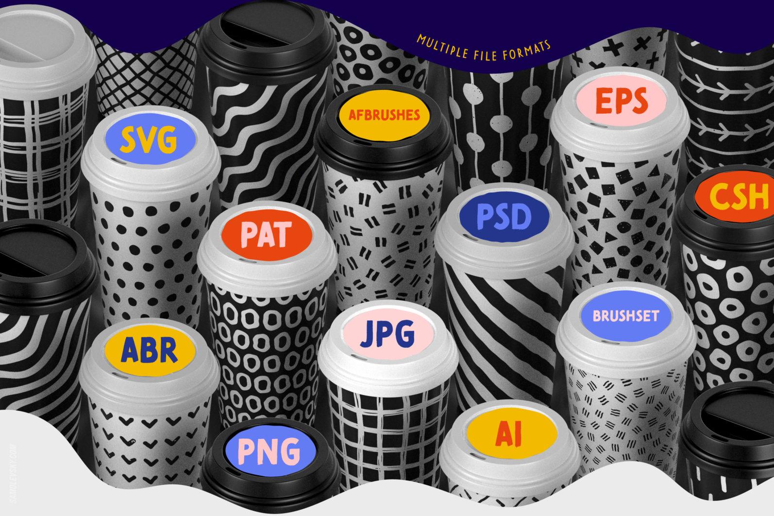 Handmade patterns bundle - 300 seamless patterns, brushes, and shapes - Samolevsky.com Handmade patterns bundle 21 scaled -