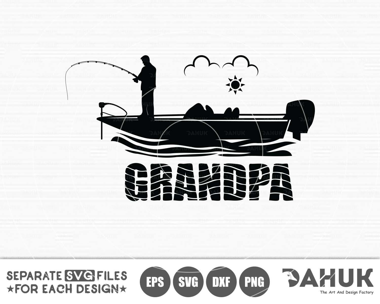 Download Grandpa Fishing Svg Grandpa Bass Boat Bass Boat Svg Cut File For Silhouette Crella