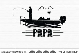 Download Papa Fishing Svg Papa Bass Boat Bass Boat Svg Cut File For Silhouette Svg Eps Dxf Crella