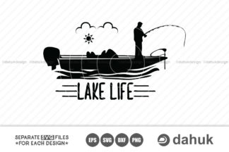 Bass Boat With Lake Life Svg File Bass Boat Bass Boat Svg Cut File For Silhouette Clipart Crella
