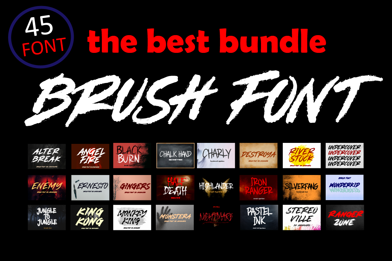 Brush Font Bundle - 45 Fonts - COVER 45 BRUSH BUNDLE FONT FBD CM -