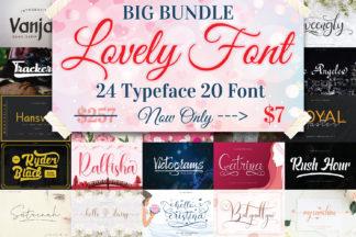 Crella Subscription - BIG BUNDLE Lovely Font Collection 1 -