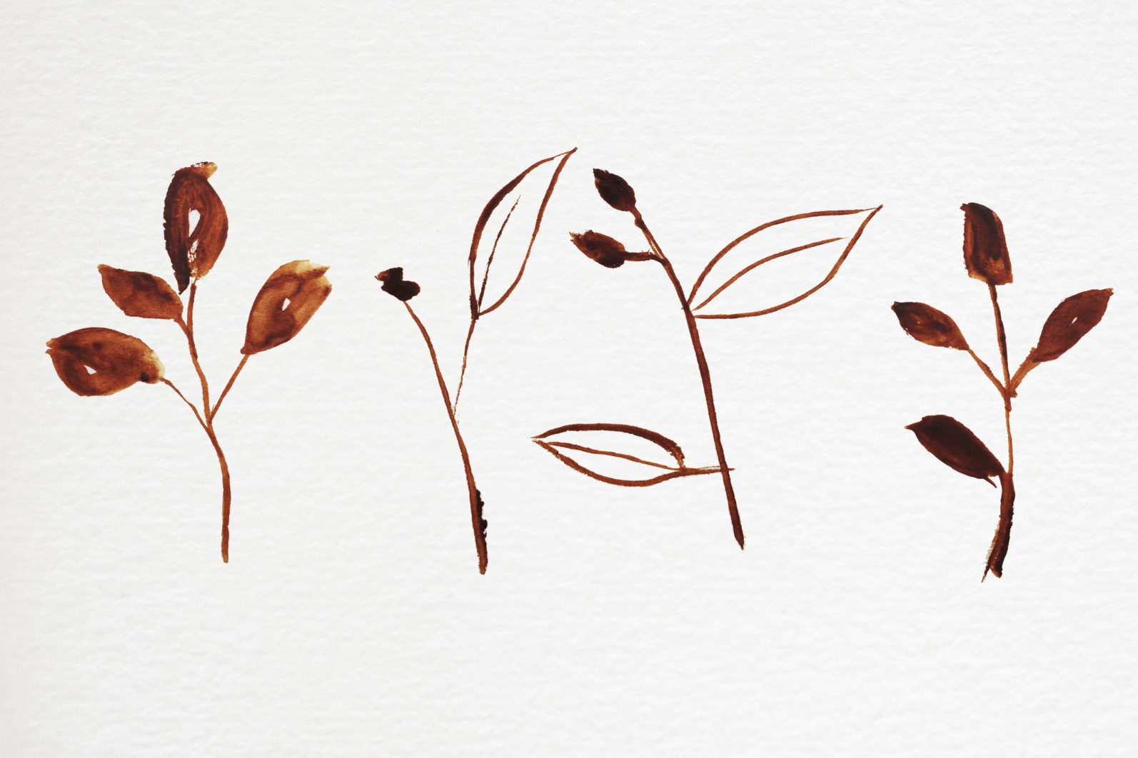 Abstract shape watercolor brown leaves autumn - 04 11 scaled -
