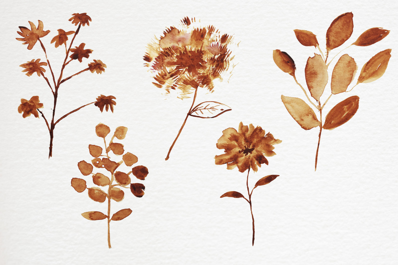 Abstract shape watercolor brown leaves autumn - 10 25 scaled -