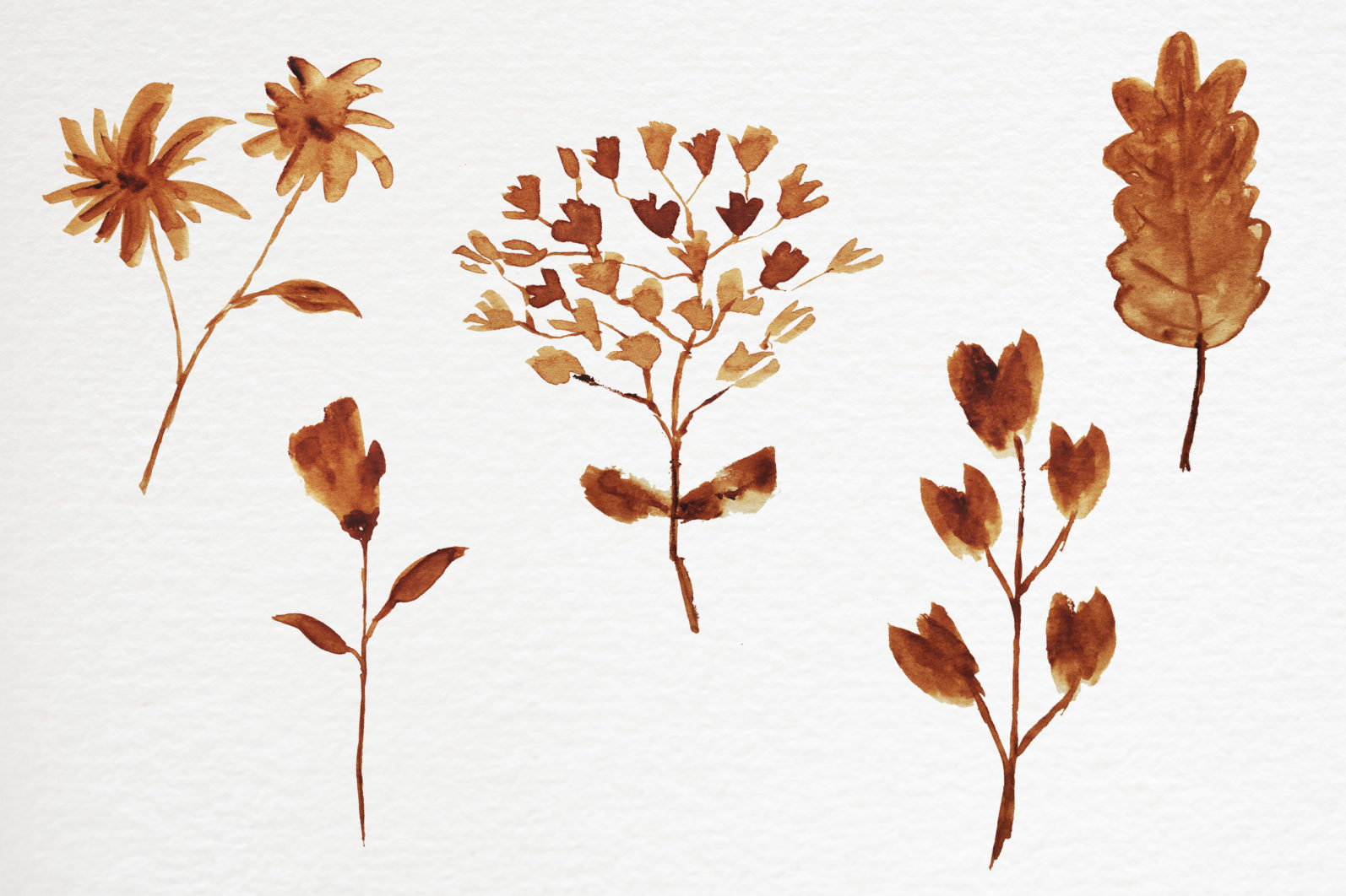 Abstract shape watercolor brown leaves autumn - 11 7 scaled -