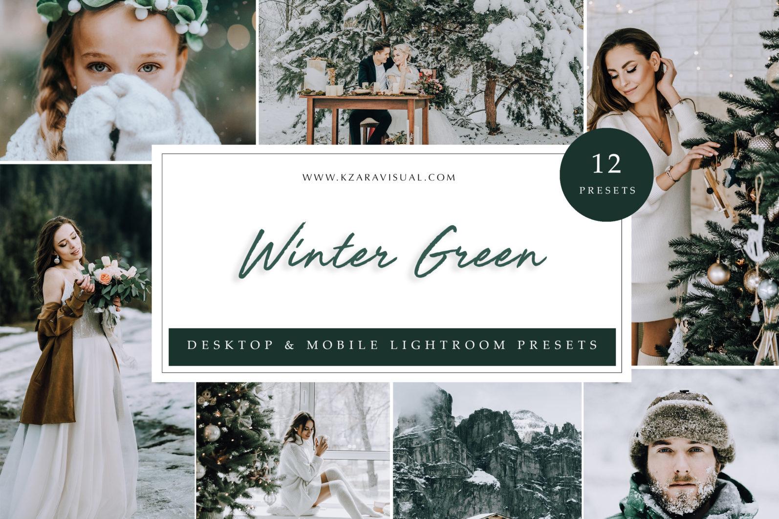 12 x Lightroom Presets, Winter Green Presets, Lanscape Presets, Green Tones Presets - Winter Green scaled -
