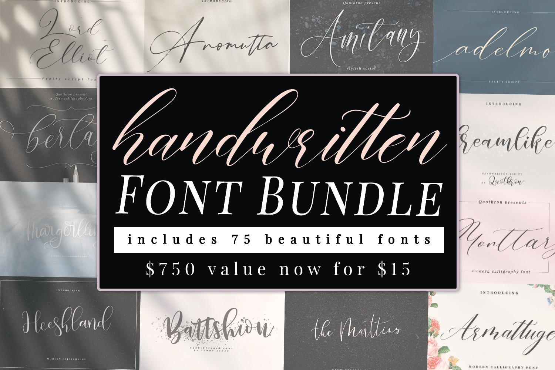 75 in 1 Hand Written Font Bundle - 11111 -