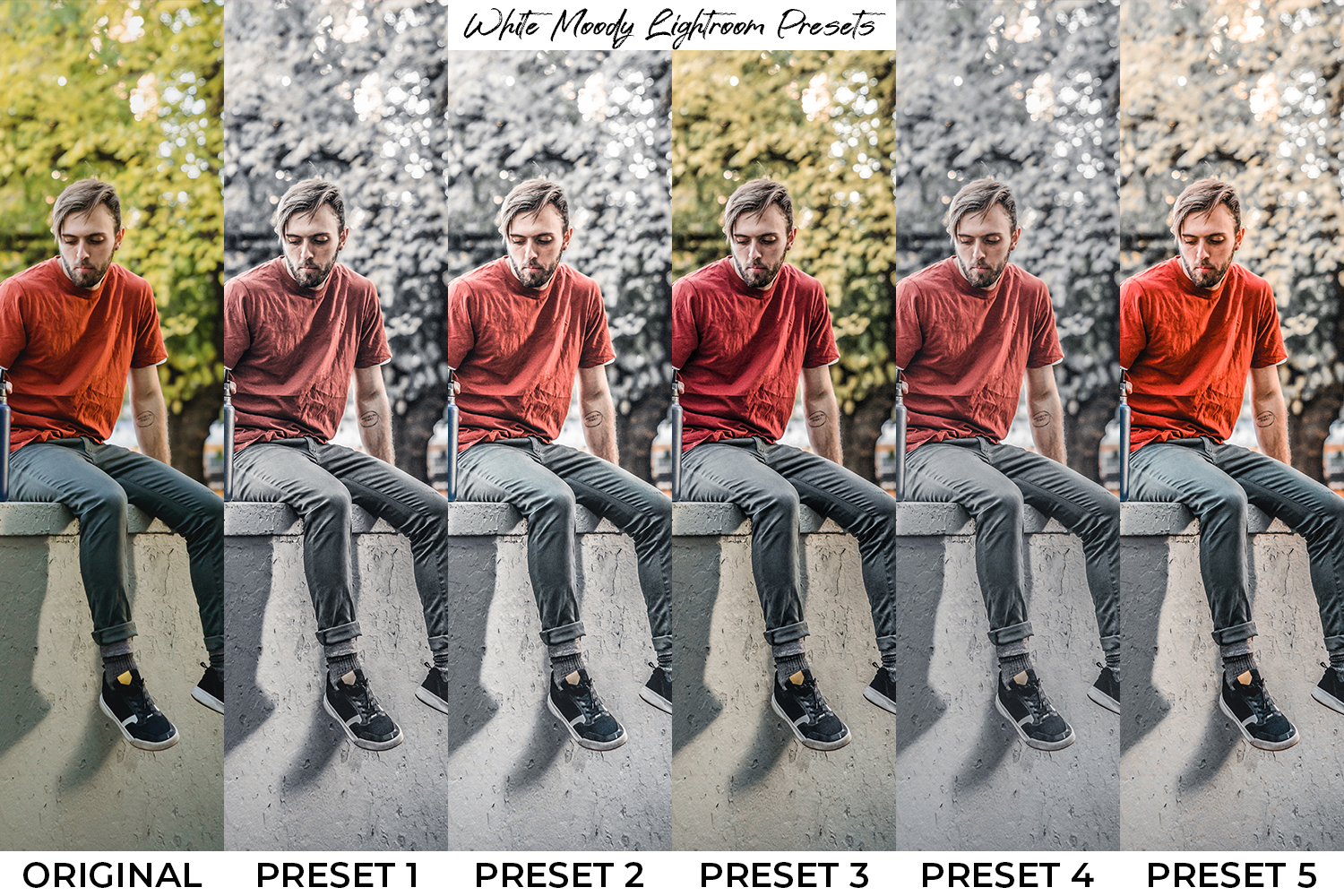 White Moody x5 Lightroom Presets - preset preview 2 -