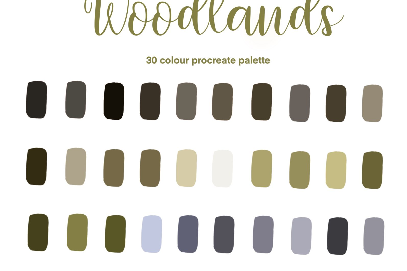 Woodlands Procreate Colour Palette / Procreate Digital Colour Palette - 30 Swatches - 0AC8EA5D F751 4995 A7F9 7372ED15BF7D scaled -
