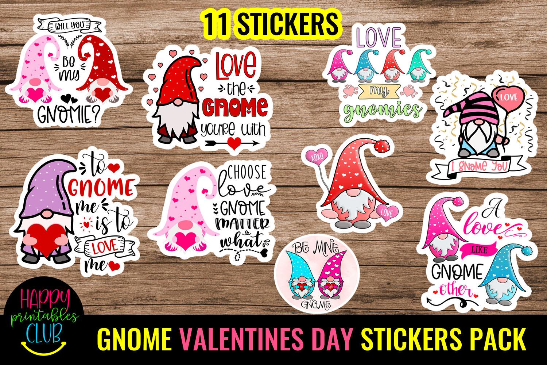 Cute Valentines Day Stickers Bundle -Love Romantic Stickers Bundle - GNOME VALENTINE DAY STICKERS PACK 1 -