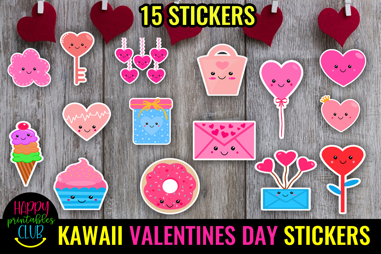 Cute Valentines Day Stickers Bundle -Love Romantic Stickers Bundle - KAWAII 2VALENTINES DAY STICKERS -
