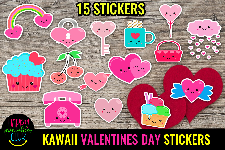 Cute Valentines Day Stickers Bundle -Love Romantic Stickers Bundle - KAWAII VALENTINES DAY STICKERS -