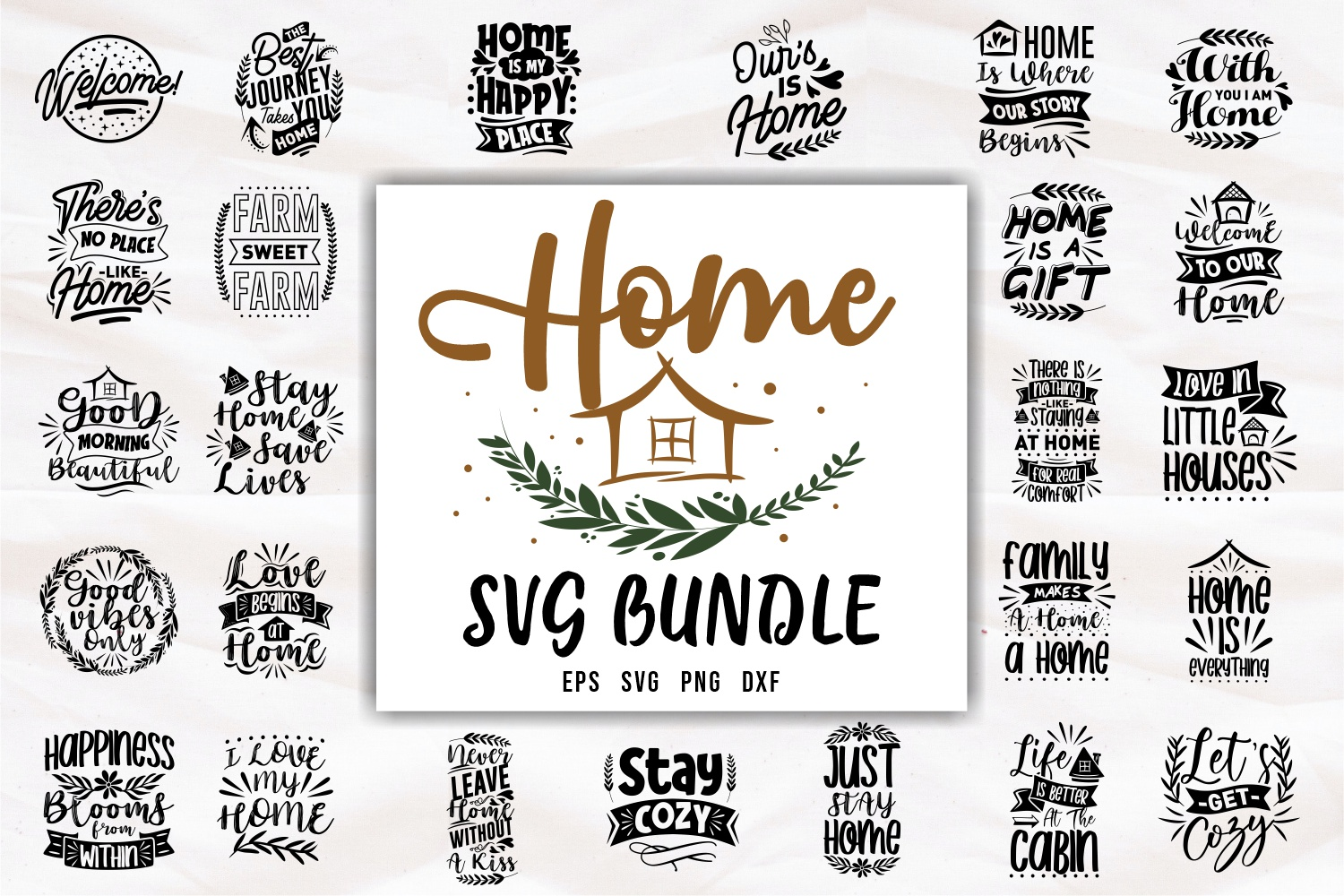 Home Quotes SVG Bundle, Craft Designs Collection Cut File - cover 23 -