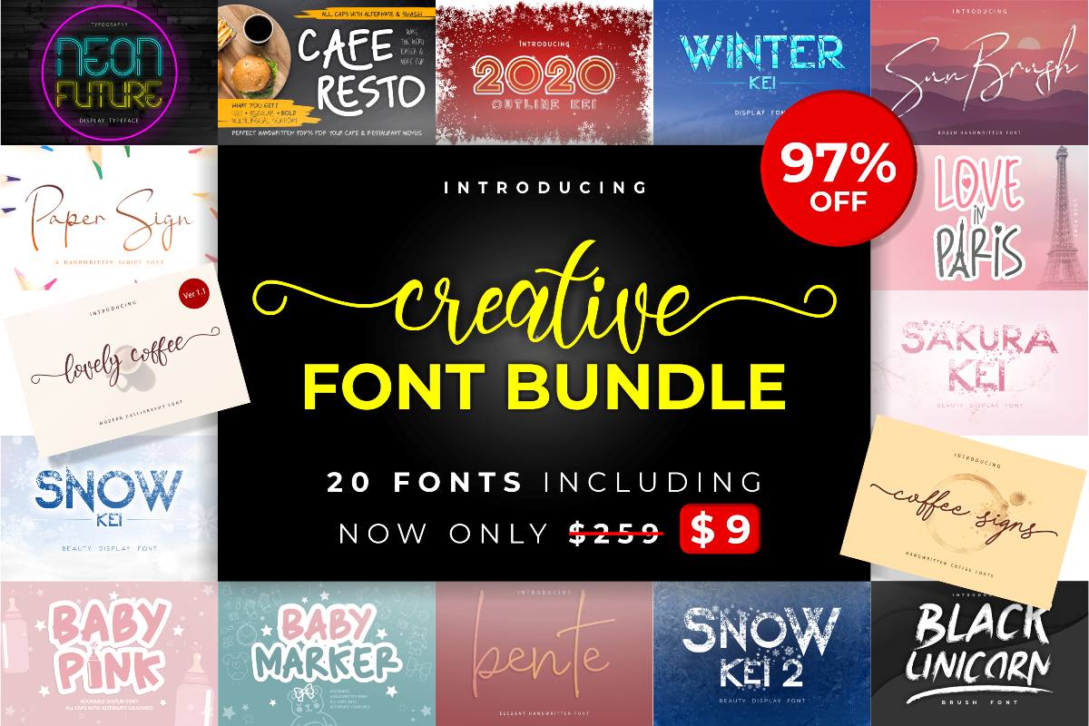 Creative Font Bundle - Creative Font Bundle 1200x800 1 -