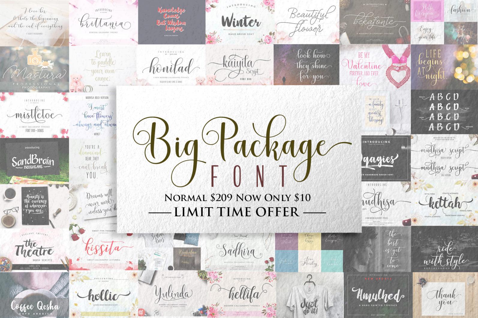 BIG PACKAGE - Font Bundle - 90% Off - Big Package Font Bundle -