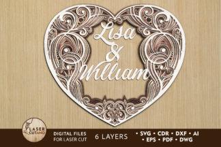Free SVG Files - custom heart laser cut files lasercutano cover -