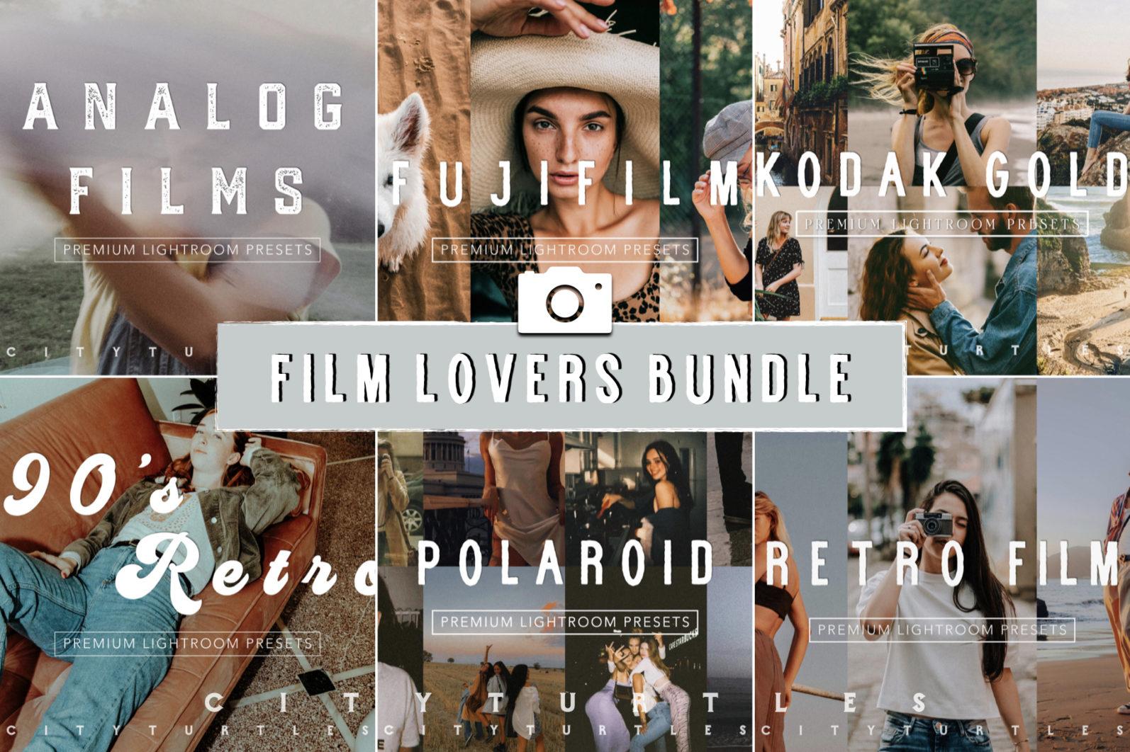 FILM LOVERS BUNDLE Lightroom Presets for Desktop & Mobile - Premium Photography Editing Tools - film lovers lightroom preset bundle -