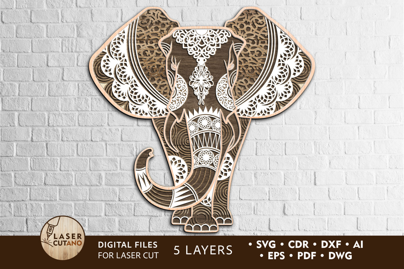 Multilayer Cut File ELEPHANT for Cricut or Laser Cut - elephant laser cut files lasercutano cover scaled -