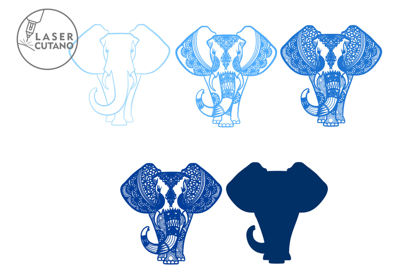 Multilayer Cut File ELEPHANT for Cricut or Laser Cut - elephant laser cut files lasercutano 4 scaled -
