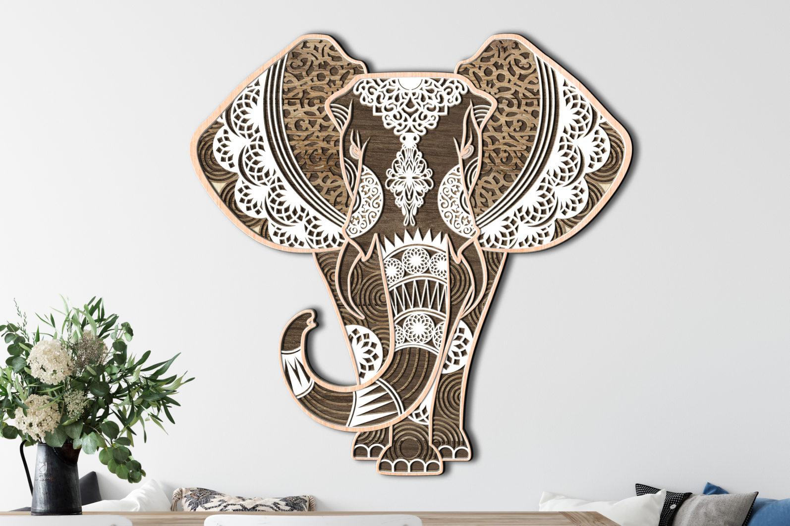 Multilayer Cut File ELEPHANT for Cricut or Laser Cut - elephant laser cut files lasercutano 5 scaled -