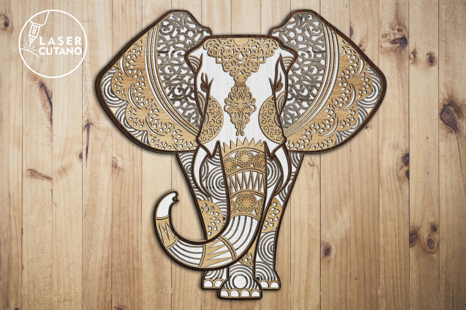 Multilayer Cut File ELEPHANT for Cricut or Laser Cut - elephant laser cut files lasercutano 1 scaled -