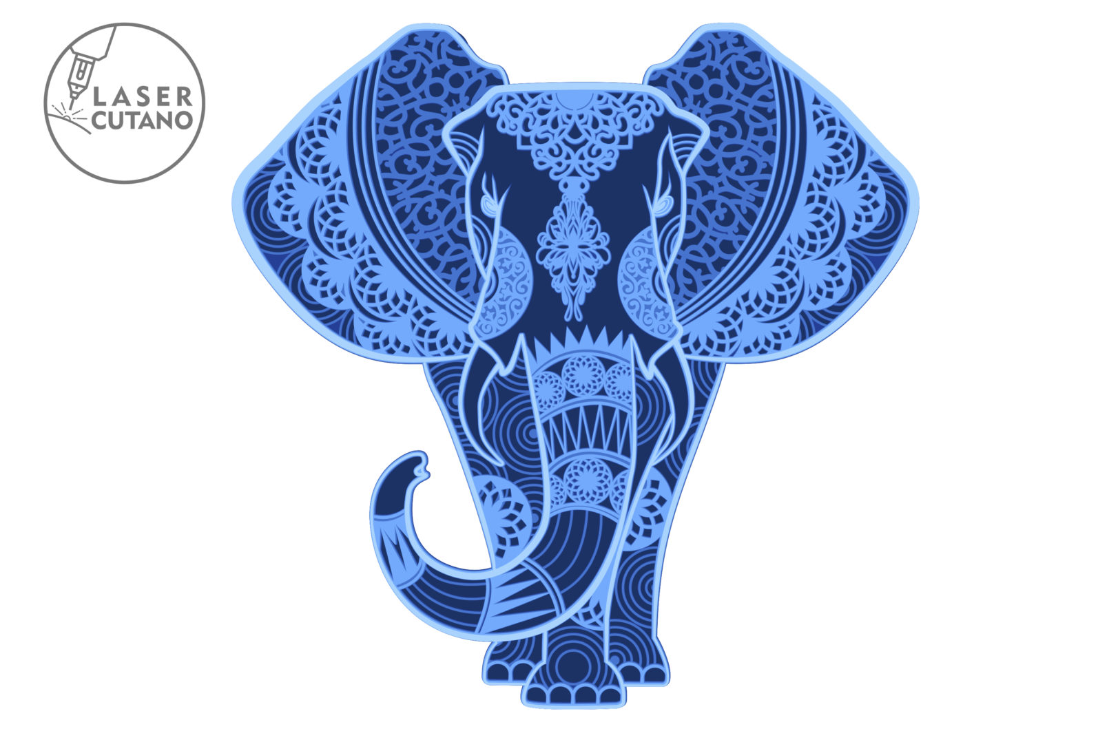 Multilayer Cut File ELEPHANT for Cricut or Laser Cut - elephant laser cut files lasercutano 3 scaled -