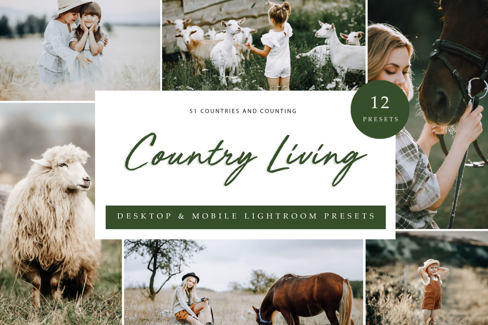 12 x Lightroom Presets, Country Living Presets, Portrait Presets, Green Shades Presets, Outdoor - Country Living LR scaled -