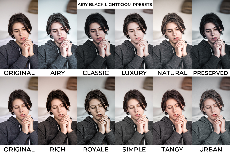 Airy Black x10 Lightroom Presets - preset preview -