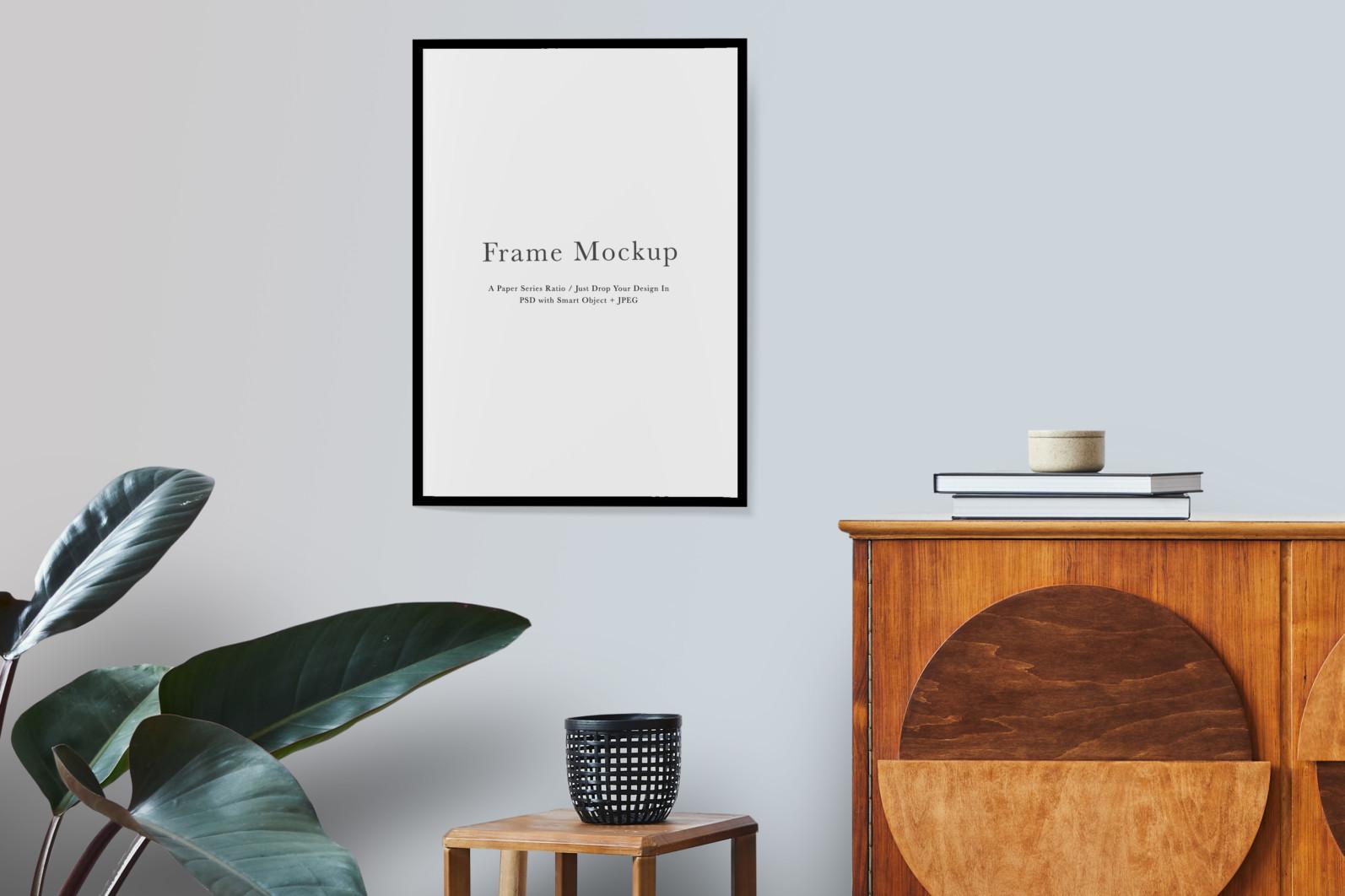 Frame Mockup #1521, Black Portrait Frame Mockup, Living Room Frame Mockup - 1521 Preview 1 scaled -