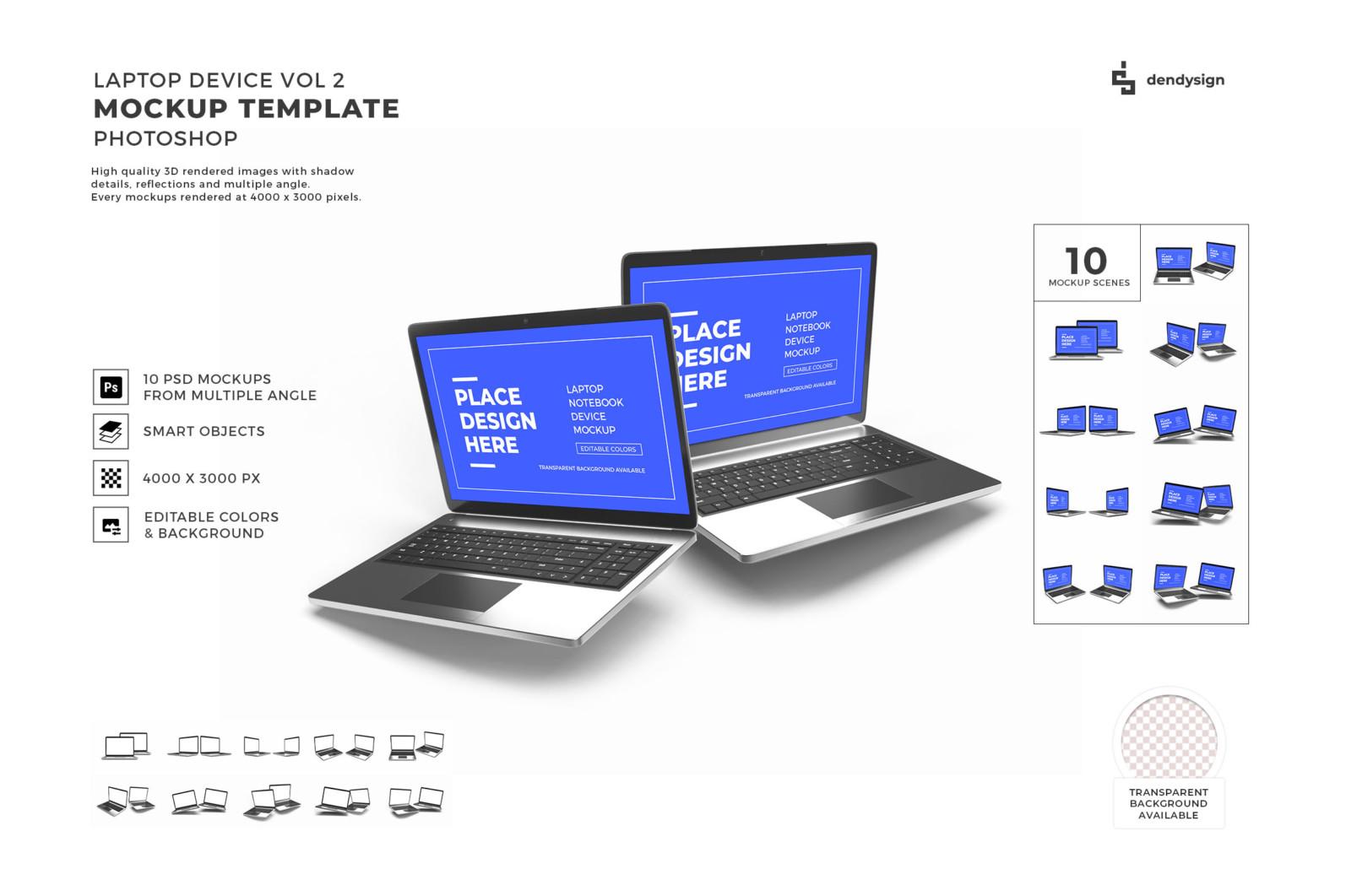 Laptop Notebook Device 3D Mockup Bundle 2 - Preview 32 15 -