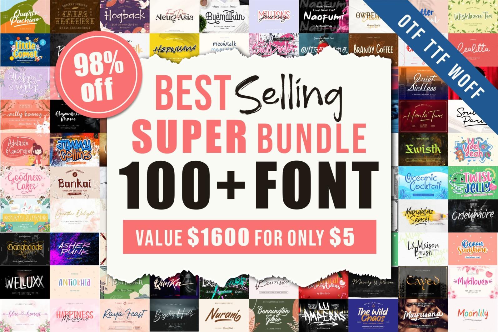 Best Seller 100 Font Bundle - thj -